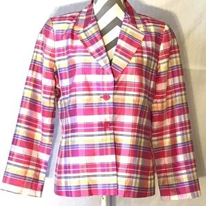 Vintage Silk Pastel Plaid Spring  Blazer
